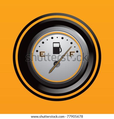 Fuel gauge in orange backdrop - stock vector