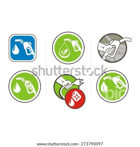 Fuel gun, eco fuel icons set. - stock vector