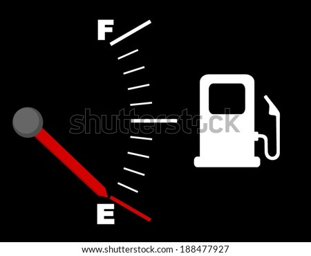 Fuel indicator illustration on black background. Gas gauge indicating empty and white icon for gas station. vector image eps10 - stock vector