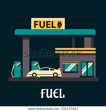 Fuel poster in flat style depicting white car at gas station with gray facade, shop, pumps and yellow signboard Fuel - stock vector