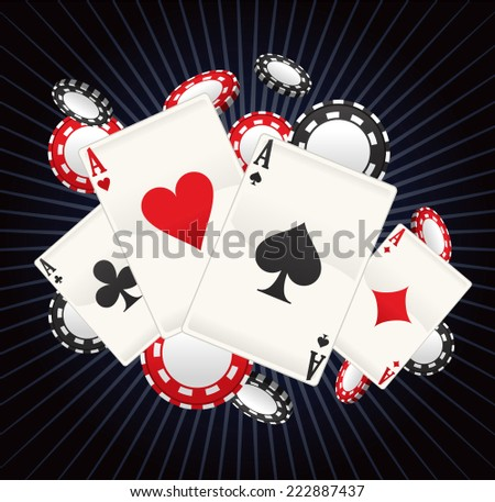Full Ace Poker with stripped black background vector illustration cartoon, with cards and coins poker splash. - stock vector