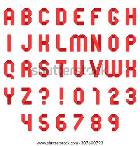 Full alphabet of red folded paper font - stock vector