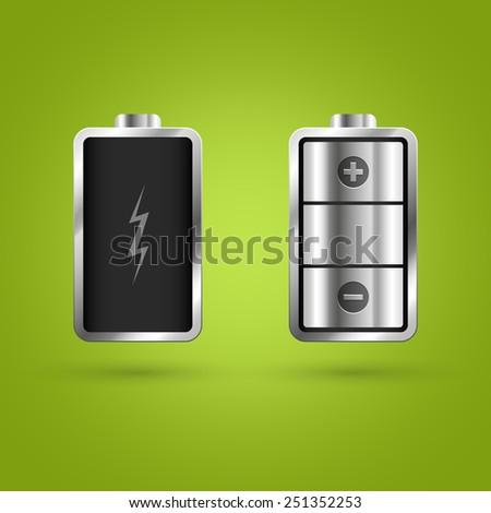 Full and Empty Battery. Vector illustration - stock vector