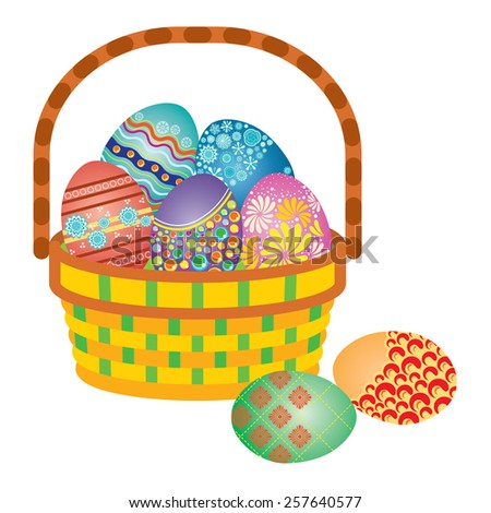 Full Basket of Decorated Easter Eggs - stock vector