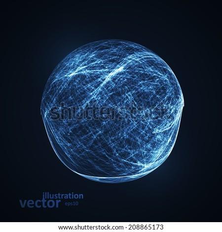 Full blue moon at dark night sky background, futuristic art illustration eps10 - stock vector