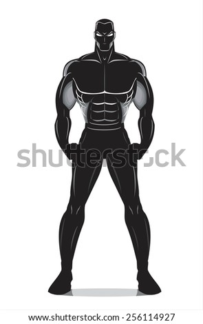full body adult on white. Human silhouette. Elegant Muscular Man icon. Fighter. Suitable for fighting sport club, Gym, Training camp identity, fighting/boxing tournament, martial arts tournament. etc - stock vector