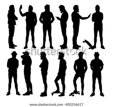 Full body standing hipster in different situations. Set or collection of various bearded man vector silhouettes.  - stock vector