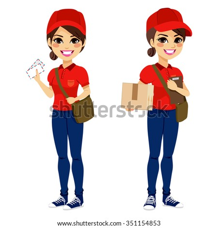 Full body young post woman delivering mail and parcel with leather bag and folder wearing red uniform - stock vector