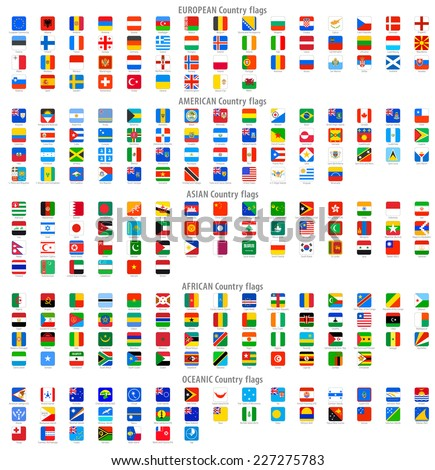 Full collection of World Rounded Square Vector National flag Icons. - stock vector
