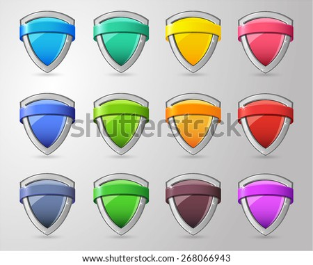 Full color glossy Shield Collection - stock vector