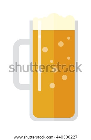 Full glass of light beer isolated on white background. Beer cup alcohol and beer cup lager beverage. Beer cup mug liquid white foam and bubble foam beer cup cold drip refreshment. - stock vector