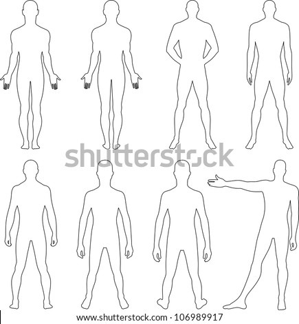 Full length front, back silhouette of a man - stock vector