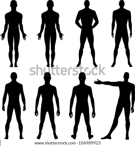 Full length front, back silhouette of man - stock vector