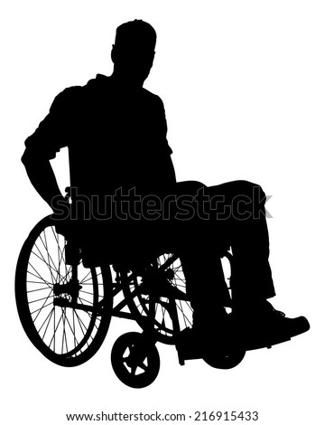 Full length of silhouette businessman sitting on wheelchair over white background. Vector image - stock vector