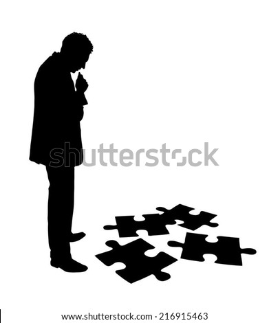 Full length of silhouette businessman solving jigsaw puzzle over white background. Vector image - stock vector