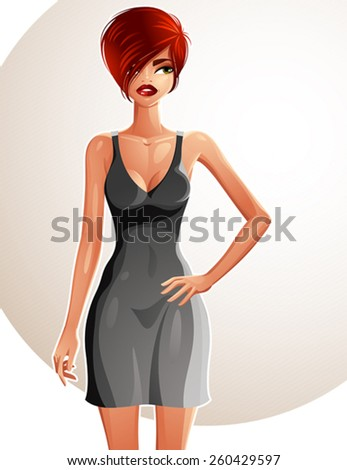 Full-length portrait of a gorgeous red-haired sexy lady wearing a bright summer dress, colorful drawing. Vector illustration of a stylish Caucasian lady holding her hand on a waist. - stock vector