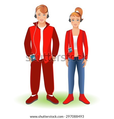 Full length portrait of a happy boy in sportswear and girl, standing and smiling with cellphone and headphones. Family, brother and sister. Set, isolated on white background. Vector illustration.  - stock vector