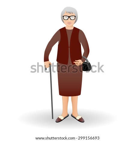 Full length portrait of an nice old woman standing with cane isolated on white background. Vector illustration.  Realistic image.Full body woman isolated on white background. - stock vector