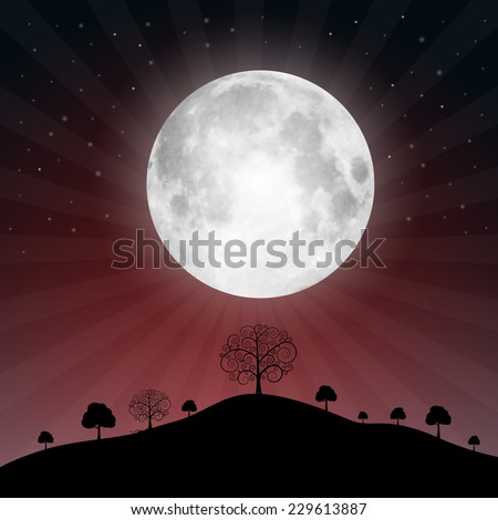 Full Moon Illustration with Stars and Trees - Vector Illustration - stock vector