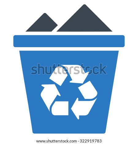 Full Recycle Bin vector icon. Style is bicolor flat symbol, smooth blue colors, rounded angles, white background. - stock vector