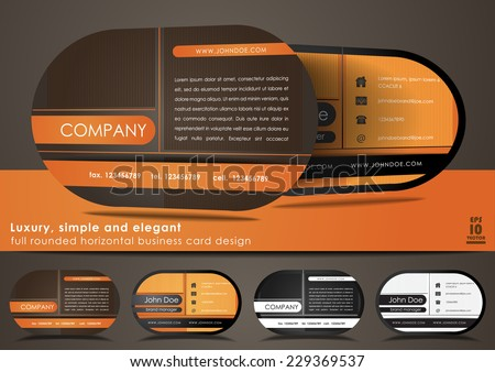 Full rounded horizontal business card design - stock vector