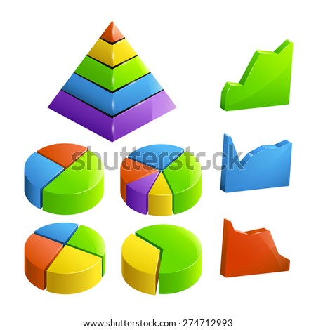 full set of different types of diagramm colored - stock vector