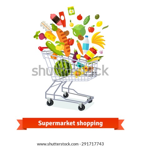 Full shopping grocery cart exploding with goods. Flat isolated vector illustration and icons on white background. - stock vector