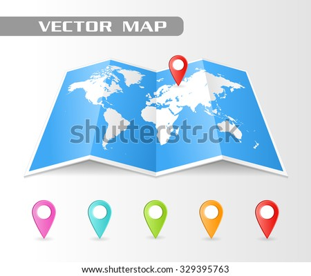 Full vector Folded map of the world with a perspective view. Complete with colorful map pointers. - stock vector