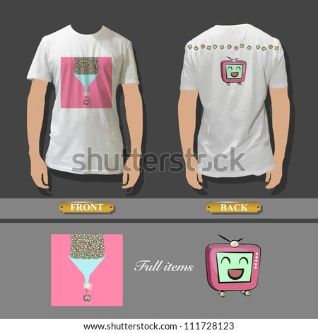 Full white T-shirt template front and back with beautiful image for insert. Vector design. - stock vector
