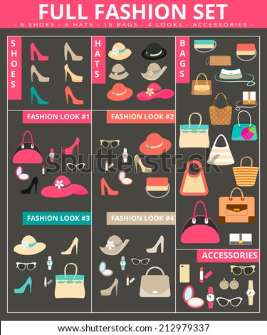 Full women's fashion collection of bags, shoes, hats and accessories. Contains EPS10 and high-resolution JPEG - stock vector