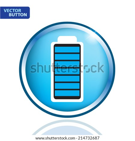 Fully charged battery. blue icon - stock vector