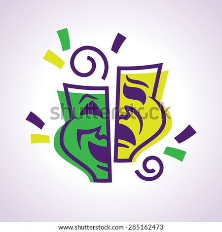 Fully editable vector illustration of the comedy and tragedy masks. Perfect for celebrating Mardi Gras New Orleans style. - stock vector