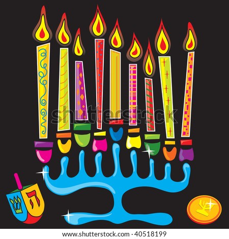 Fun and colorful menorah - stock vector
