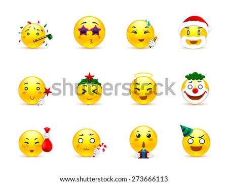 Fun and joy in the country anime smiles on winter vacation - stock vector