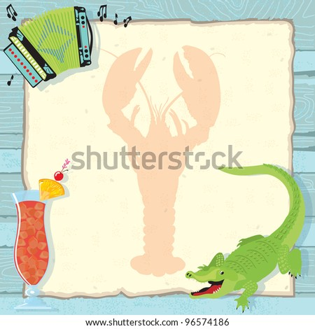 Fun Cajun lobster boil party invitation with accordion, alligator, hurricane cocktail and a lobster silhouette on vintage paper and a weathered blue wood background. - stock vector