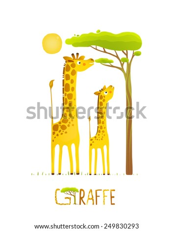 Fun Cartoon African Giraffe Animals Eating Foliage. Brightly colored giraffe child and mom. Vector illustration EPS10. - stock vector