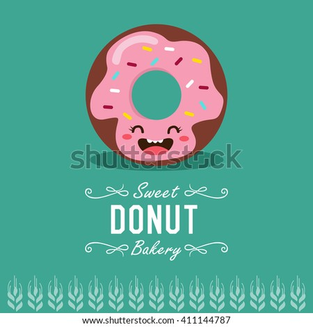 Fun cartoon donut. Bakery and pastry cartoon character. Vector illustration.   - stock vector