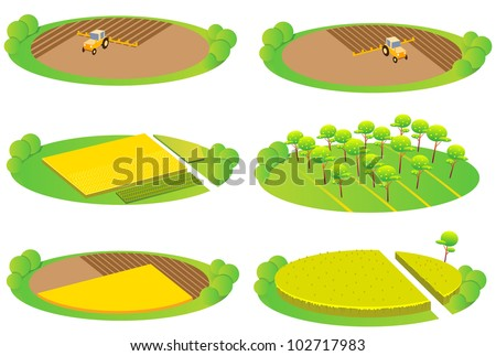 Fun cartoon map elements: Fields and agriculture. Each building and ground are in the separate layer. (set #7) - stock vector