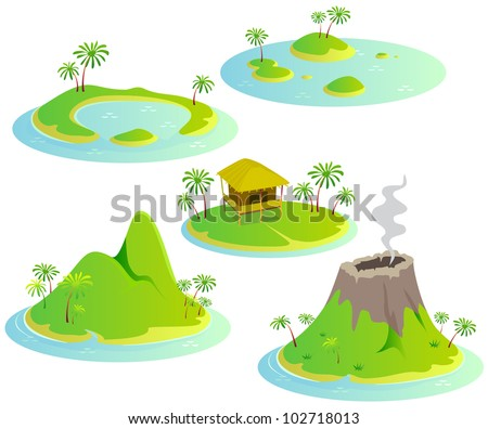 Fun cartoon map elements: islands. Each element and water are in the separate layer. (set #8) - stock vector