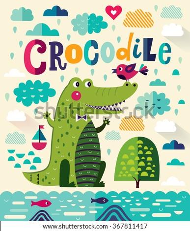 Fun cartoon vector illustration with cute crocodile - stock vector