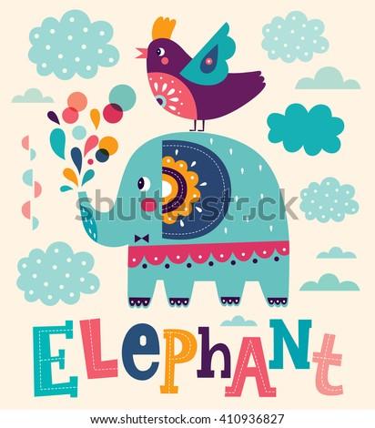 Fun cartoon vector illustration with cute elephant - stock vector