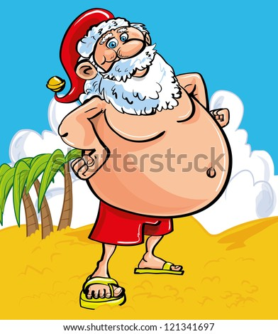 Fun Christmas greeting card of a cheerful Santa with a protruding belly at the seaside standing on a sandy beach in shorts and sandals as he enjoys his tropical summer vacation - stock vector