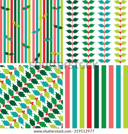 Fun Colorful Cheerful Modern Christmas Holiday Holly and Stripes Patterns - stock vector