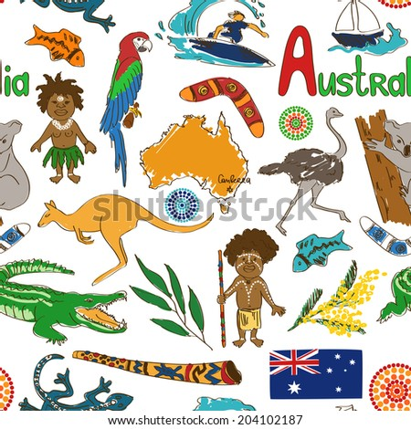 Fun colorful sketch Australia seamless pattern - stock vector