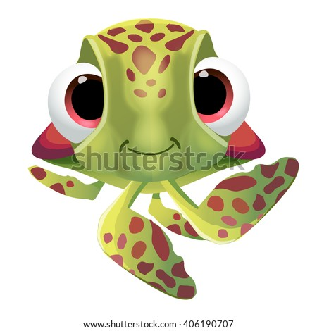 Fun cute cartoon sea turtle character. Vector illustration, isolated, clip-art on a white background - stock vector