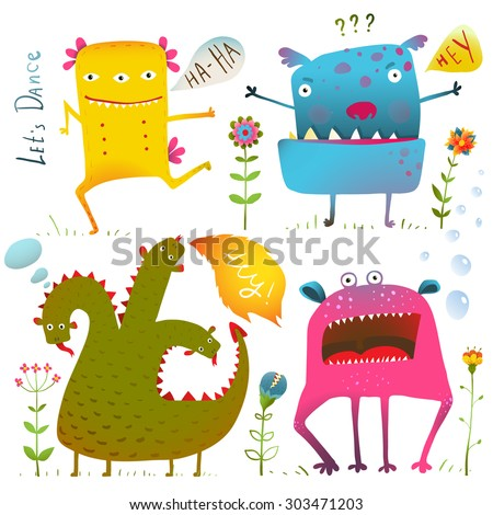 Fun Cute Kind Monsters for Children Design Colorful Collection. Vivid fabulous incredible characters design elements set isolated on white. EPS10 vector has no background color. - stock vector