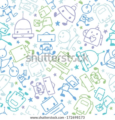 Fun doodle robots seamless pattern background - stock vector