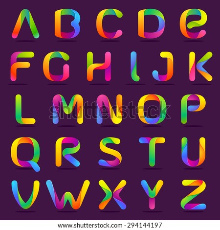 Fun english alphabet one line colorful letters set. Font style, vector design template elements for your application or company. - stock vector