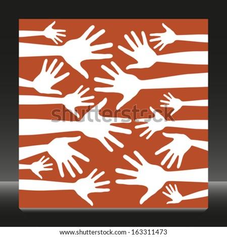 Fun hand pattern design.  - stock vector