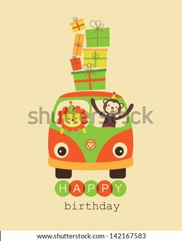 fun happy birthday card design. vector illustration - stock vector